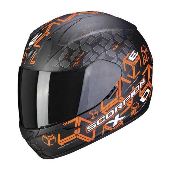 casco scorpion exo-390 cube naranja
